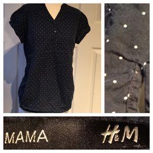 MAMA H&M maternity shirt navy white polka dot